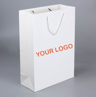 Wholesale Leopard Paper Gift Bags - Fashion White Paper Shopping Bags With Custom Logo Printed Suitable For Promotion And Trade Show Personalized Printing Paper Gift Bags