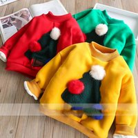 Everweekend Girls Christmas Trees Tees Sweet Baby Rosso giallo e verde vestiti di colore Lovely Kids Fleece Lining Autumn Tops