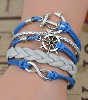 Wholesale Infinity Rudder Anchor Charm Bracelets - New 2015 Leather Charm Bracelet Braid Multilayer Bracelet Infinity Anchor Rudder Bracelet Europe Life Tree Bracelets Bangle