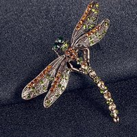 Wholesale Dragonfly Brooch Mixed - New Fashion Jewelry Women's Vintage Noble Dragonfly Crystal Scarf Pin Brooches
