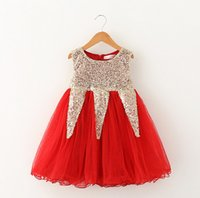 Wholesale Child Xmas - Kids Xmas dress Girls Sequins princess dress children sequins splicing tulle tutu dress kids pink party dress girls holiday dress A7014