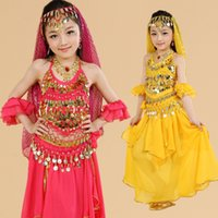 Wholesale Belly Dance Arm Sleeves - Girls Belly Dance Costume 5 Pcs Top+Skirt+Waist Chain+Arm Sleeve+Veil Child Belly Dancing Clothes Kids Ropa De Danza Del Vientre