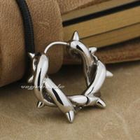 Wholesale Solid Silver Hoop Earrings - Solid 316L Stainless Steel Fashion Thorns Hoop Earring 4X024(1 Piece)