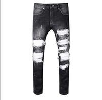 Wholesale Jeans Vaqueros Hombre - Top Famous Vintage Distrressed Applique Ripped men's cargo pants Vaqueros Hombre Hiphop popular Motorcycle zipper men's Jeans