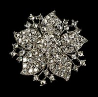 "Wholesale Wholesale Vintage Look Flower Brooches - 2.1"" Large Clear Rhinestone Crystal Vintage Look Bouquet Flower Pin Brooch"