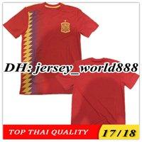 Wholesale Fabregas Spain Jersey - TOP QUALITY 2018 World Cup Spain red MORATA ASENSIO home soccer jersey 17 18 FABREGAS ISCO A.INIESTA SILVA RAMOS Espana away football shirts