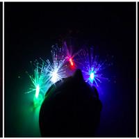 fibra levou luzes dedo venda por atacado-Melhor Preço De Fibra Óptica LEVOU Brilhante Luzes Anel de Dedo Rave Partido Brilho Crianças Brinquedos Presentes de Natal 500 pcs