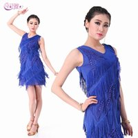 Wholesale Dance Costumes Leaves - fashion Adult Fringe leaves Latin dance costumes tango cha cha samba rumba world competition dance dress A0307