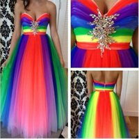 Wholesale Strapless Rainbow Prom Dresses - New Arrival 2017 Sweetheart Zipper Back Long Rainbow Prom Dresses With Rhinestones Decoration Tulle Plus Size Dress Party Evening FY0018