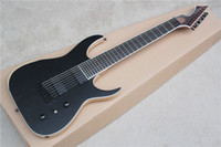 Wholesale Wood Ash - 8-string Matte Black Electric Guitar with Ash Wood Body and Mahogany Neck,Can be Customized as Request