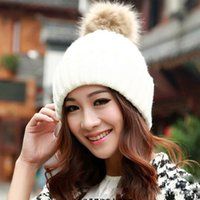 Wholesale Low Priced Knitted Hats - Wholesale-lowest price New 2015 Fashion knitted woolen women winter beanie hats with fur pompoms female autumn ladies colorful head caps