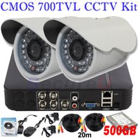 Wholesale Low Price Security Camera Systems - Lowest price perfect complete cctv security surveillance system 700TVL video monitor camera 4ch DVR video recorder 500GB HDD