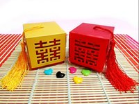 Wholesale Double Happiness Wedding Decorations - 50PCS LOT Wholesale Wedding Favors Candy Boxes Party Supplies Decorations Valentine's Gift Double Happiness Hot Sale