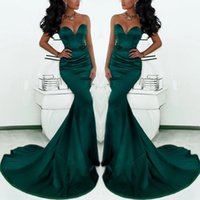 Wholesale Vintage Sweetheart Mermaid Dresses - Gorgeous Sweetheart Long Emerald Green Mermaid Evening Gowns 2017 Satin Fishtail Special Occasion Prom Dresses For Women