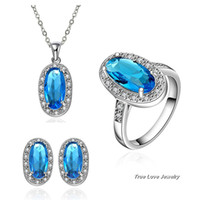 Wholesale Swarovski Crystal Ring Blue - Beautiful wedding Jewelry Set 18K platinum plated Swarovski Elements Crystal Pendant Necklace & Earrings & Rings Top quality free shipping