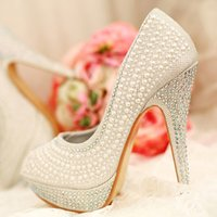 Wholesale Cheap Satin Shoes For Wedding - White Bridal Wedding Shoes 2015 Imitation Pearl Rhinestone Pumps 12 cm Stiletto Heels Platform Round Toe Cheap Wedding Shoes for Bride 238-5