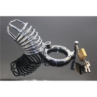 Wholesale Bdsm Cocks - 3 Different Size Stainless Steel Chastity Cock Penis Cage with Ring & Padlock Men's Lock Cock Cage BDSM Chastity Device High Quality Toys