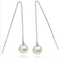 Wholesale Vintage Silver Box Chain - bridal white pearl drop earrings high end luxury single pearl box chain earring woman vintage jewelry