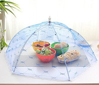 Wholesale Table Food Cover - Lace Food Covers Umbrella Style Anti Fly Mosquito Kitchen Diameter 55cm Cooking Tools Meal Cover Hexagon Gauze Table Food Cover Mix color