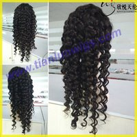Wholesale Virgin Burmese Hair Deep Wave - 7A New Arrival Burmese Virgin Remy Human Hair Deep Wave Curly African American Glueless Full Lace Wig Front Lace Wig For Black Women