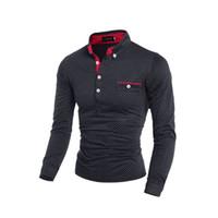 Wholesale Long Slim Polo Design - Free shipping 2015 fashion design men polo shirts casual solid polo shirt long sleeve polka dot polo shirts 2 colors M-XXL H7519