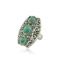 antike türkisfarbene ringe für frauen großhandel-Vintage böhmischen Türkis geschnitzt Ring für Frauen Antik Silber-Legierung Carving Ringe Modeschmuck Großhandel 12 Stück