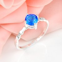 Wholesale Gemstone Blue - 6 PCS LOT Luckyshine Valentine Gift Amazing Round Sky Blue Topaz Gemstone 925 Sterling Silver Plated Weddiing Rings R0793