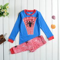 Wholesale Despicable Pyjamas - 240set lot 2015 Kids Wear Despicable me minion batman spider man captain america Pajamas Children's Cartoon Pyjamas Long sleeve Sleepwears