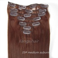 Wholesale virgin remy hair weave auburn for sale - Group buy Grade A quot quot g Medium auburn Straight Brazilian Indian virgin Remy Human Hair Extensions Clip in Hair Weave