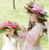 Wholesale Resin Hat - Hot sell Girls Grass Braid Caps Beautiful wreath Hat Attractive Beach Hats Visor Caps pink flowers Children caps A7165