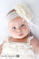 Wholesale Shabby Feather Baby Headbands - Ivory Layered Poppy Flower Matching Feather and Shabby rosettes baby Headband Infant Accessories 6 pcs lot