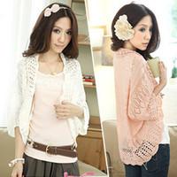 Wholesale Double Breasted Shrug Jacket - Fashion Summer Short Women Small Cape Short Sleeve Cotton Jacket Shrug Small Cardigan Pink Color Free Size