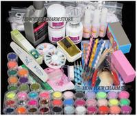 Wholesale Nail File Brush - Wholesale- Wholesale Professional 42 Acrylic Liquid Powder Glitter Clipper Primer File Nail Art Tips Tool Brush Tool Set Kit