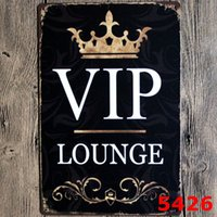 Wholesale Living Room Sign - VIP LOUNGE Metal Tin sign Vintage Black Poster Pub Home Party Decoration Metal Craft ART Painting 20*30cm