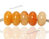 Wholesale Yellow Agate Gemstone Jewelry Stone Round Beads High Polished Loose Beads mm Big Hole Fit Charms European Bracelet DIY