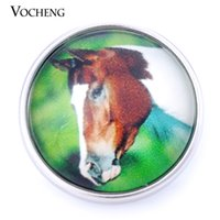 Wholesale Horse Glasses - VOCHENG NOOSA 18mm Interchangeable Jewelry DIY Glass Horse Snap Button Vn-999