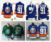 camisa verde de john venda por atacado-Hot Barato New York Islanders Mens Hóquei No Gelo Jersey # 91 John Tavares Jerseys Azul Verde Autêntico Costurado camisa Esporte Atacado
