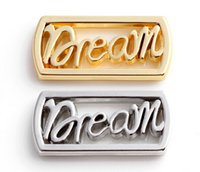 20pcs / lot Silver Gold Plated Letter Dream Floating Window Plates Fit para memória magnética 30MM Glass Charms Locket