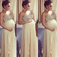 Wholesale Top Dress For Pregnant - Stunning Prom Dresses for Pregnant Women Empire Crystals Beaded Top Chiffon Evening Dresses for Maternity High Quality Formal Wear