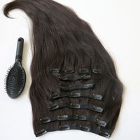 Wholesale clip human hair weave for sale - Group buy 220g inch Clip in human Hair Extensions Brazilian Hair B Off Black Remy Straight Hair weaves set free comb