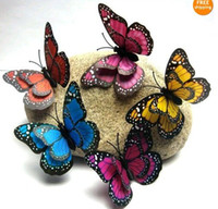 Wholesale Wholesale Animal Print Home Decor - 3D wall stickers butterfly fridge magnet wedding decoration home decor Room Decorations butterfly double-sided printing 7cm JIA197