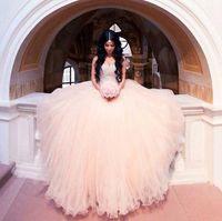 Wholesale Top Beautiful Wedding Dresses - 2018 Beautiful Blush Pink Arabic Dubai Ball Gown Wedding Dresses Beadings Crystals Top Puffy Skirt Fancy Bridal Gowns BA7294