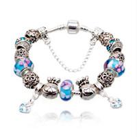 Wholesale Porcelain Blossom - New Charm Bracelets Blue Cherry Blossom Murano Glass Beads &Cubic Zirconia Dangle Charms Snake Chain Bangle Bracelets BL027