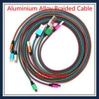 Wholesale Galaxy S4 Alloy - Aluminium Alloy Braid Cable Color Fabric Micro USB data Sync Nylon Charger for Samsung Galaxy S6 S4 3 Note 4 2 LG HTC Blackberry M7 M8 SONY