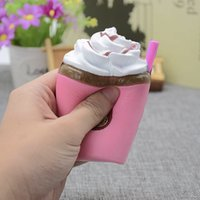 Wholesale Sippy Cup Strap - Squishy Toy Ice Cream Cup squishies Sippy cups Slow Rising ice cream Soft Squeeze Cute Cell Phone Strap Christmas gift for Kids