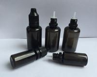botellas de agujas negras al por mayor-PET negro botella vacía 10 ml 30 ml botellas cuentagotas de plástico con consejos largos y finos a prueba de manipulaciones tapas E botella de aguja líquida envío de DHL
