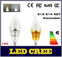 Wholesale E27 Candle 12w Dimmable - 10X Dimmable 110V 220V CREE LED Candle Bulb E12 E14 E27 LED Lamp 85-265V 9W 12W 15W LED Light Chandelier LED Lighting Bulbs