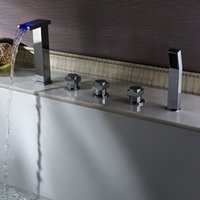 Wholesale Waterfall Tub Faucet Polished Brass - Chromed Waterfall Bathtub Faucets Modern Bathroom Faucet Luxury Bathroom Accessories Spout Valve Hand Shower Set Bath Taps Tub