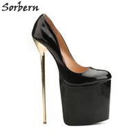 7d8e0053eb20a Sorbern Unisex Dress Shoes Plus Size 40-50 Pump Women Shoes Slip-on Gold Metal  High Heels 22cm Platform 9.5cm Dance High Heels