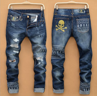 Wholesale Man Steal - Male brand jeans hip-hop motorcycle stolen goods thin slim pants ripped jeans really crime robin jeans